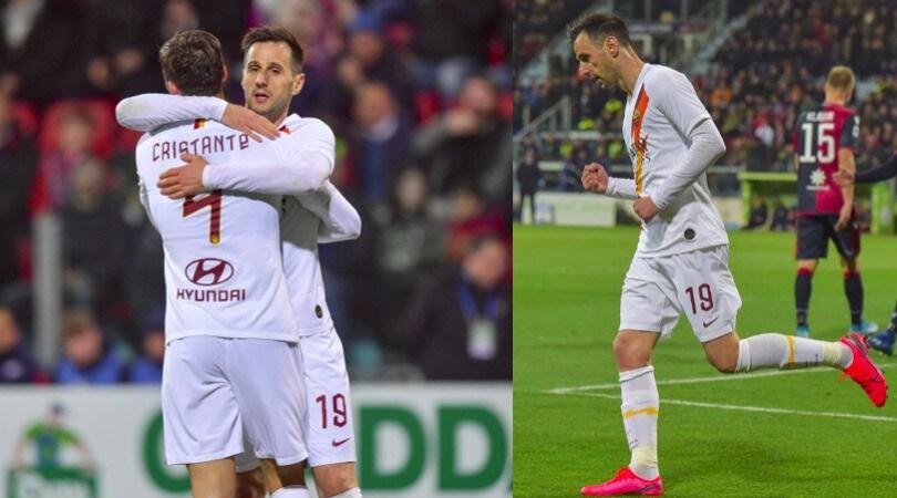 Roma, Kalinic protagonista della vittoria a Cagliari: doppietta e assist