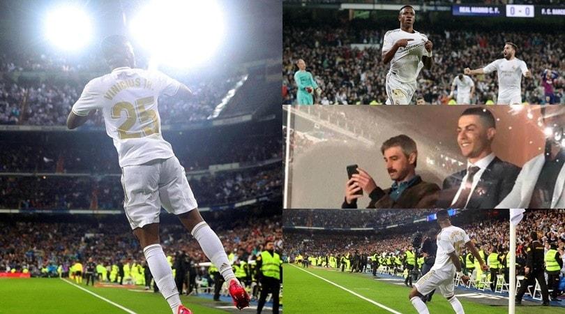 """Cristiano Ronaldo a Madrid per il Clasico: Vinicius jr esulta col """"Siuu"""""""