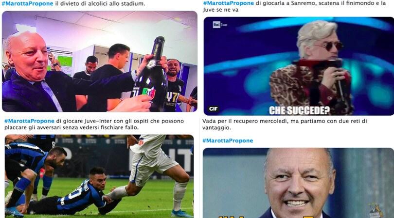 Caos Juve-Inter, l'hashtag #Marottapropone impazza sui social