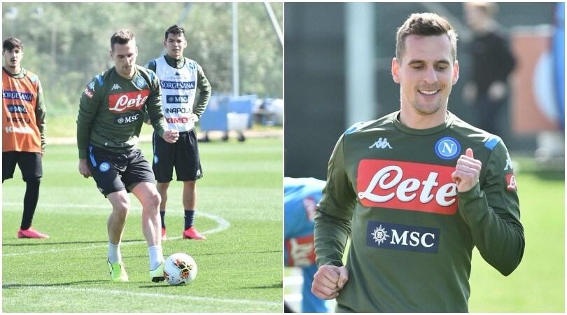 Napoli, Gattuso può sorridere: Milik si allena con la squadra