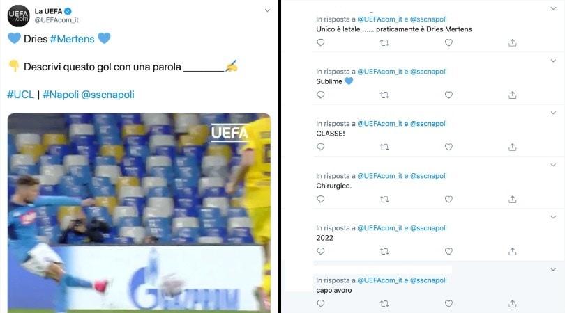 Napoli, la Uefa celebra il gol di Mertens col Barça. E i tifosi impazziscono sui social