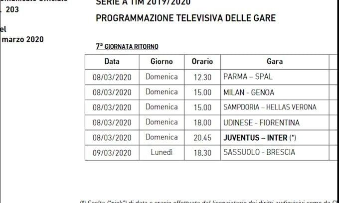 Serie A, ufficiale: Juve-Inter domenica sera