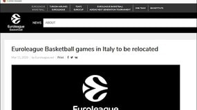 Basket, l'Eurolega: stop alle partite in Italia fino all'11 aprile