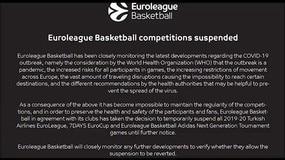 Basket, sospese Eurolega ed Eurocup