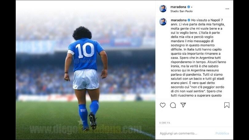 """Coronavirus, Maradona pensa a Napoli e all'Italia: """"Supereremo anche questo"""""""