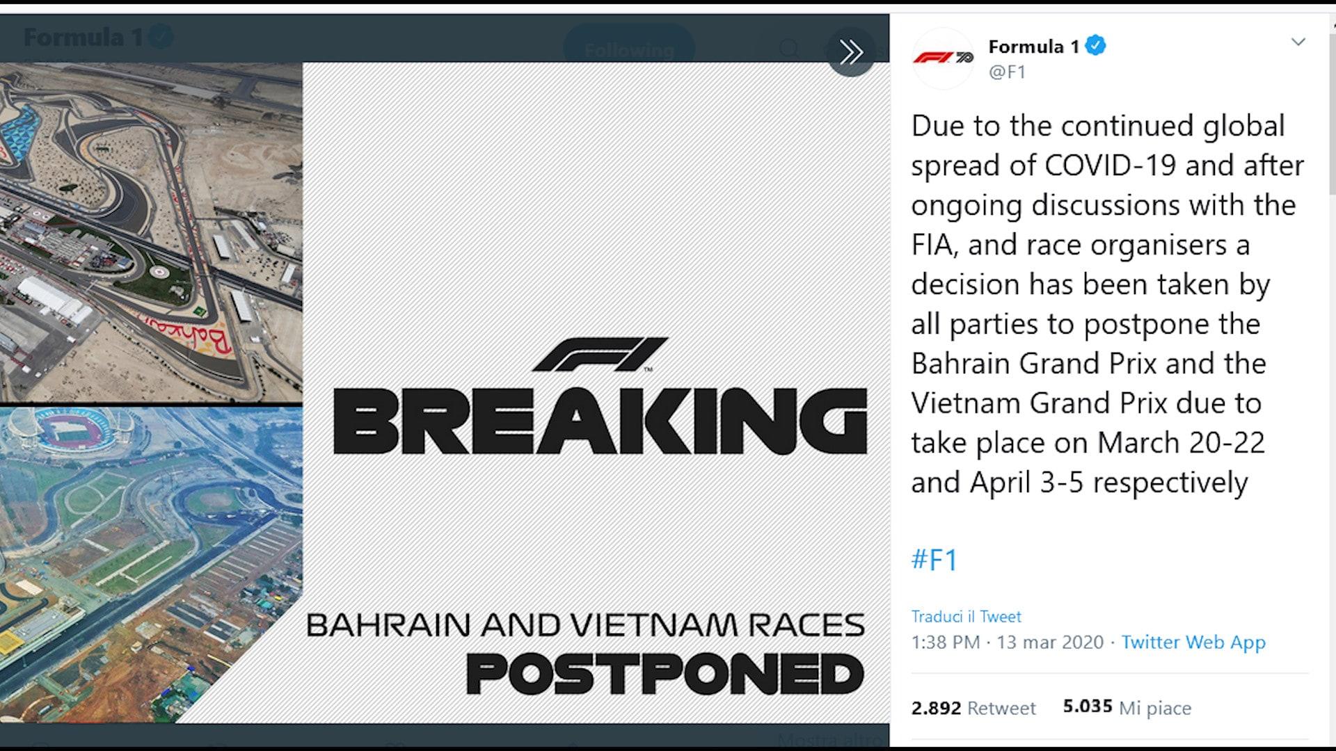 F1, Mondiale al via a maggio in Olanda: rinviati Bahrein e Vietnam