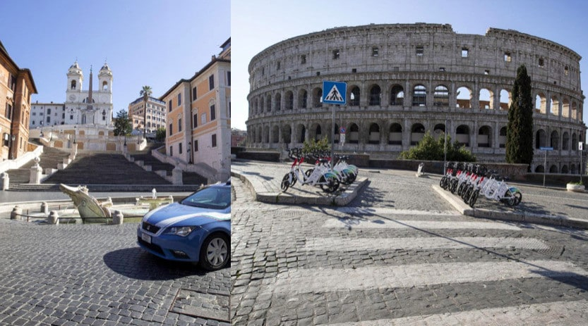 Dalla Scalinata di Trinità dei Monti al Colosseo, Roma ancora deserta