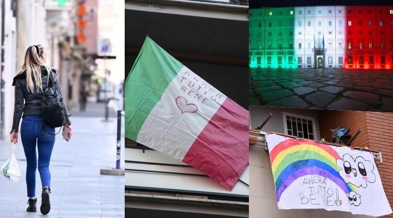 """Coronavirus, Roma tra bandiere e giochi di luce: """"Andrà tutto bene"""""""