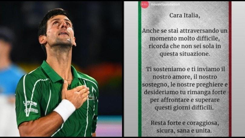 Coronavirus, Djokovic e il messaggio all'Italia: