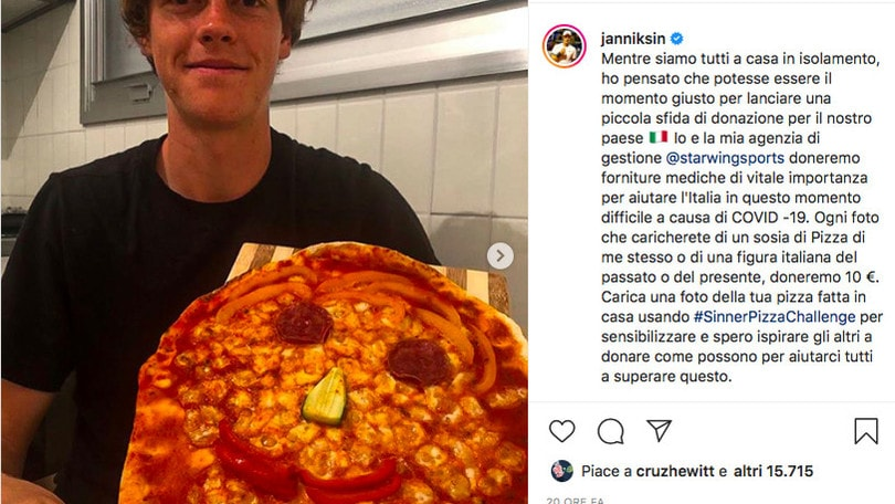 """Coronavirus, Sinner lancia la """"Pizza Challenge"""""""