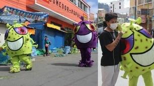 In Bolivia artisti si travestono da Coronavirus