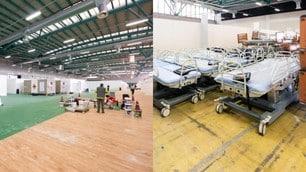 Coronavirus, lavori in corso per il nuovo ospedale alla Fiera di Bergamo