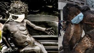 Coronavirus, in Germania anche le statue con le mascherine