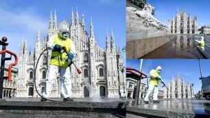 Coronavirus, al Duomo di Milano sanificazione alla pavimentazione e ai monumenti