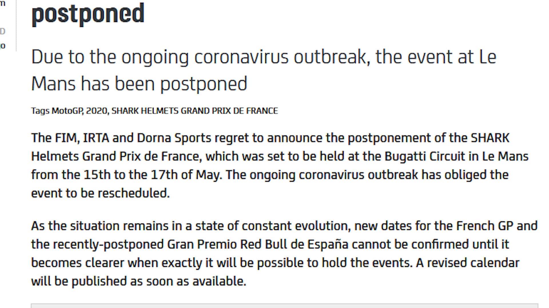 Coronavirus, Moto Gp: rinviata la tappa in Francia