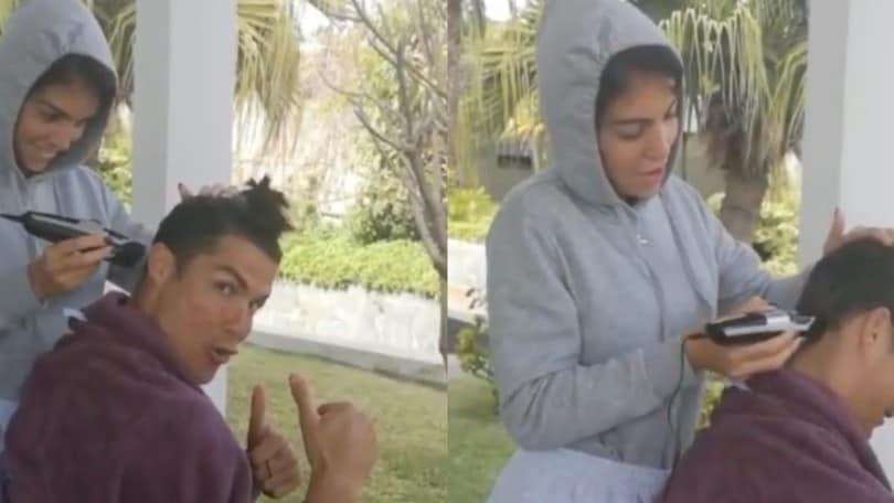 """Juve, Cristiano Ronaldo si fa tagliare i capelli da Georgina: """"Restate alla moda"""""""