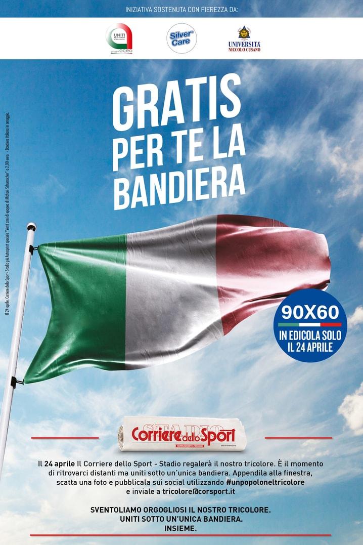 La bandiera in regalo con il Corriere dello Sport-Stadio