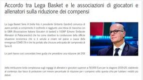 Lega Basket-giocatori: trovato accordo per taglio stipendi