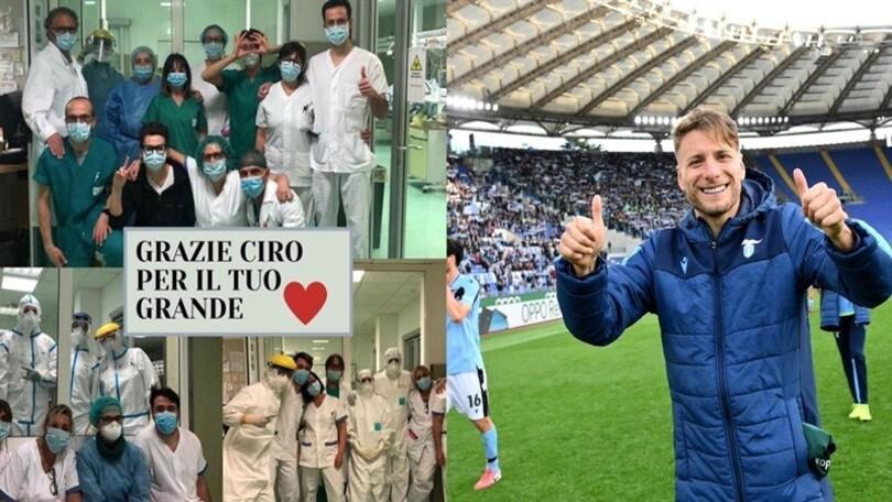 """Lazio, Immobile campione di solidarietà. I medici: """"Grazie Ciro"""""""