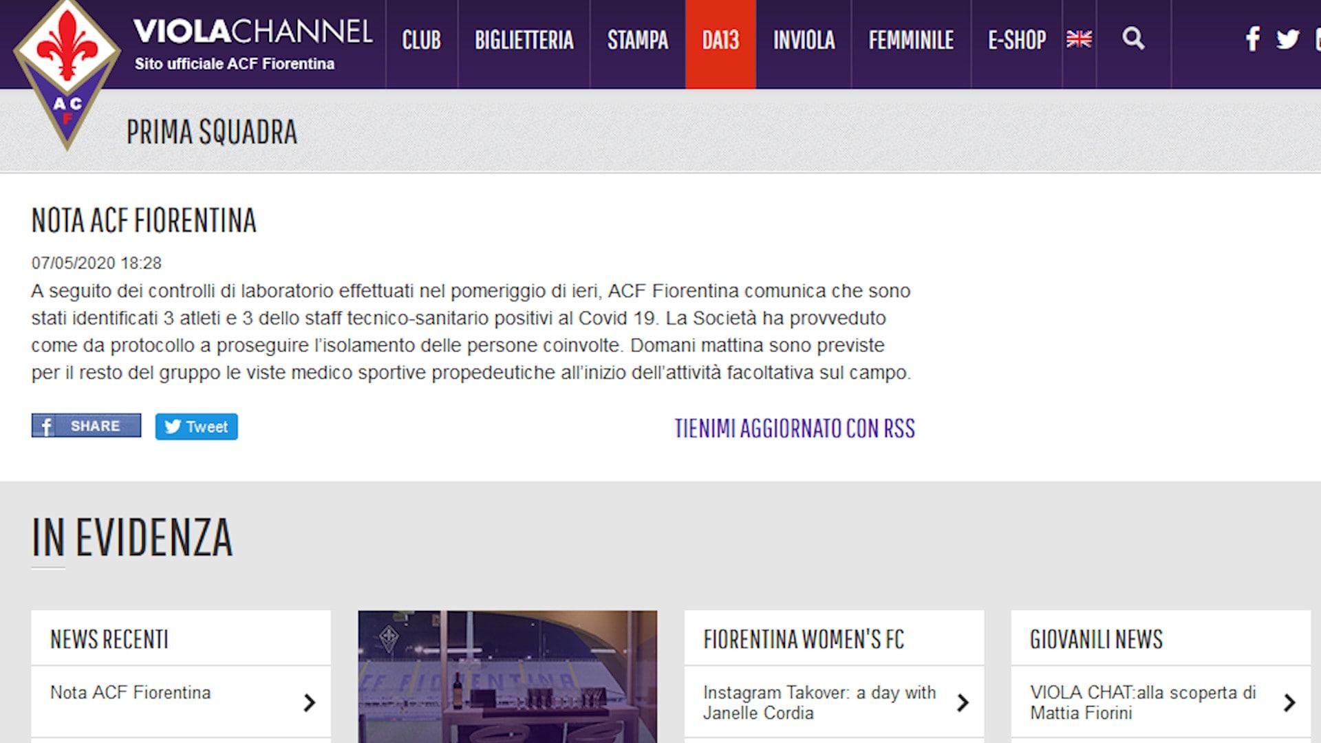 Fiorentina, 6 nuovi positivi al Covid-19 tra giocatori e staff