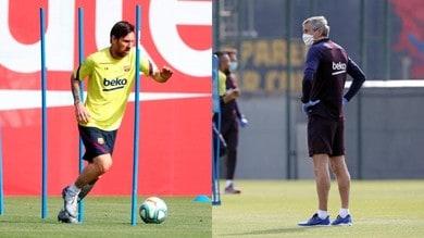 Barcellona, Messi in campo e Setien con la mascherina