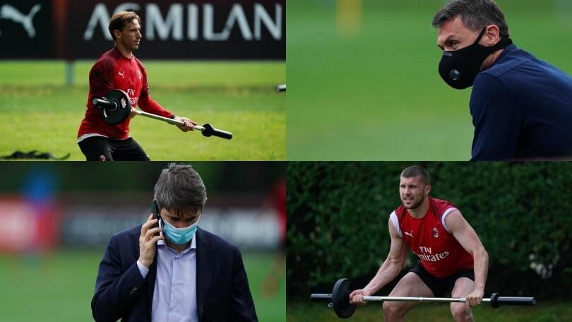 Il Milan si allena sotto gli occhi di Maldini e Massara. Biglia e Rebic sollevano i pesi