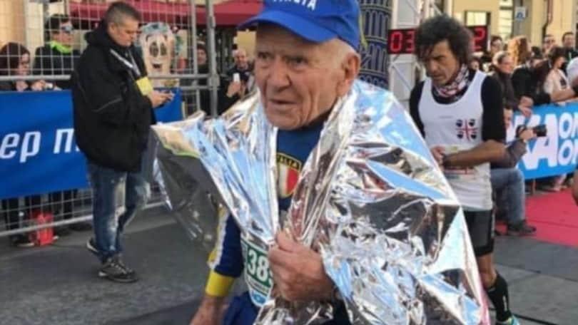 """Angelo Squadrone, 91 anni, podista: """"Nel '35 la malaria, quest'anno ho saltato Roma, sogno i mondiali in Canada""""."""