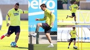 Barcellona, Messi e Vidal si scaldano in attesa del ritorno in campo