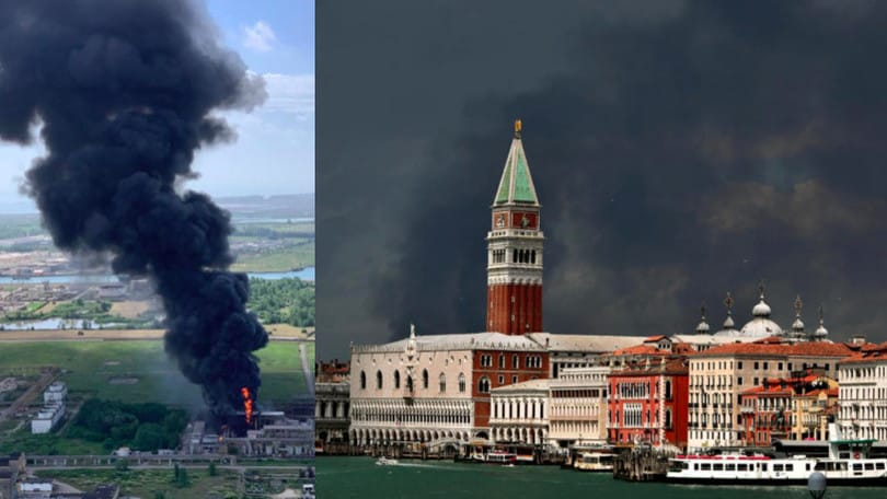 Incendio in fabbrica, cielo da film horror a Venezia