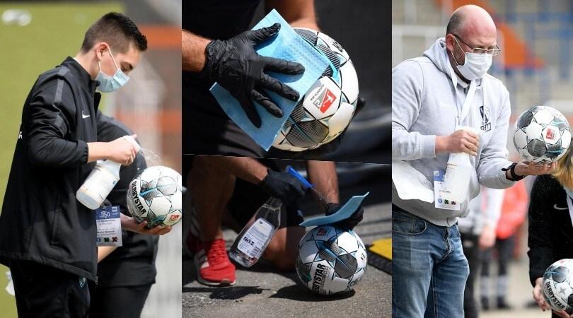 In 2. Bundesliga disinfettano il pallone prima delle partite