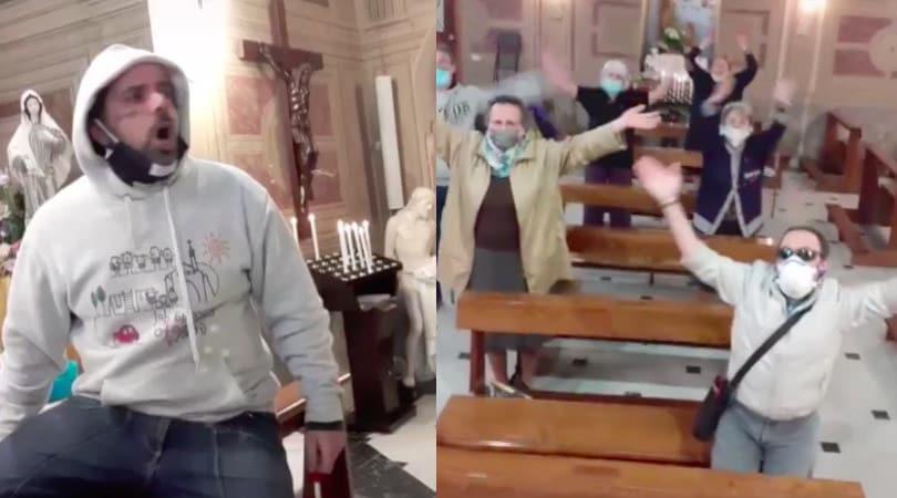 """In chiesa come allo stadio, il parroco invita i fedeli: """"Lunedì si torna a messa"""""""