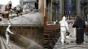 Coronavirus, dalle chiese ai marciapiedi: l'esercito sanifica il centro di Roma
