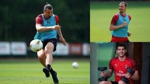 Milan: Ibrahimovic scalda il sinistro, Theo Hernandez si allena con i pesi