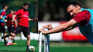 Milan, la smorfia di Ibrahimovic in allenamento