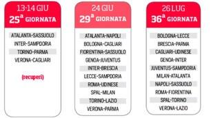 Serie A, prima i recuperi? Ecco il nuovo calendario