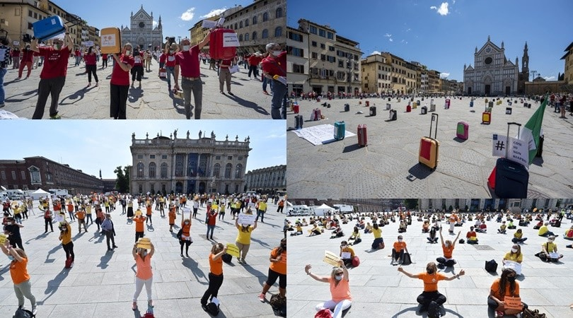 Coronavirus, da Firenze a Torino: il flash mob delle agenzie di viaggio