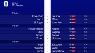Serie A, il nuovo calendario: Juve-Lazio il 20 luglio alle 21.45