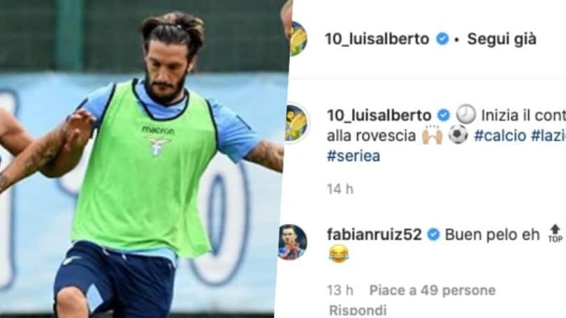 """Lazio, Luis Alberto: """"Via al conto alla rovescia"""". E Fabian Ruiz lo prende in giro"""