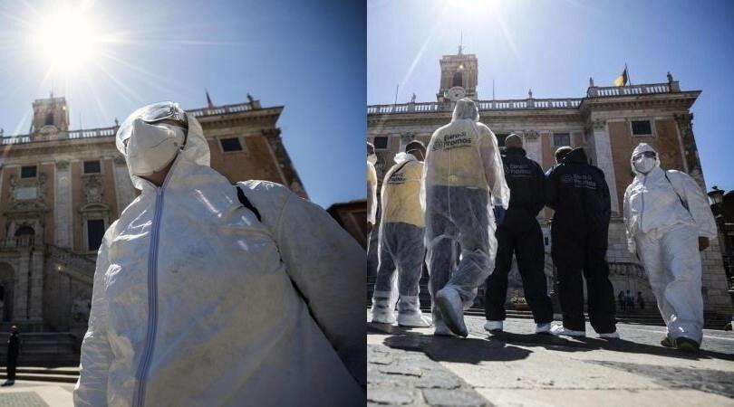 Coronavirus, a Roma ecco la sanificazione del Campidoglio