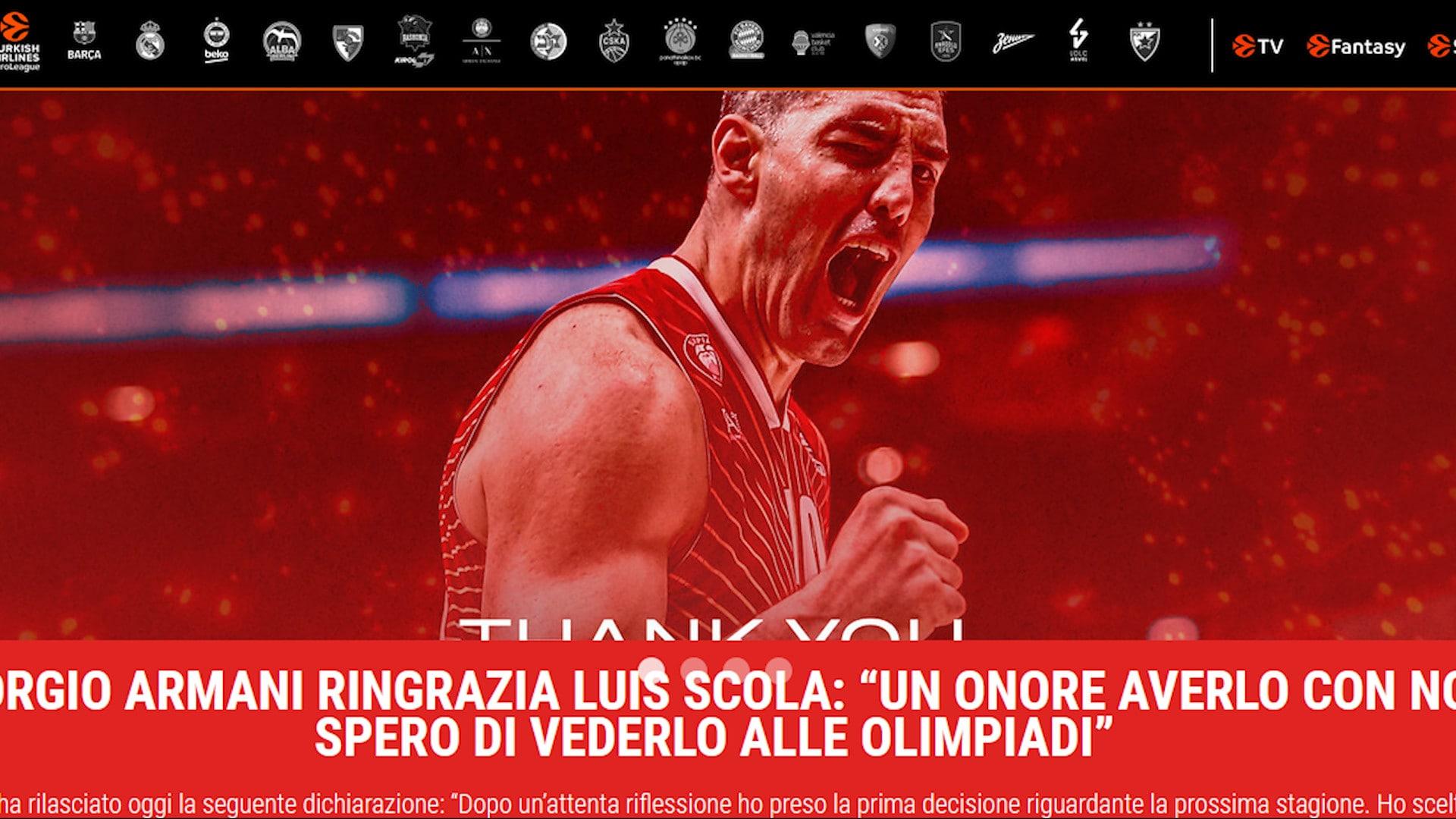 Ufficiale: Luis Scola lascia l'Olimpia Milano