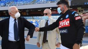 Il Napoli al San Paolo con De Luca e De Laurentiis