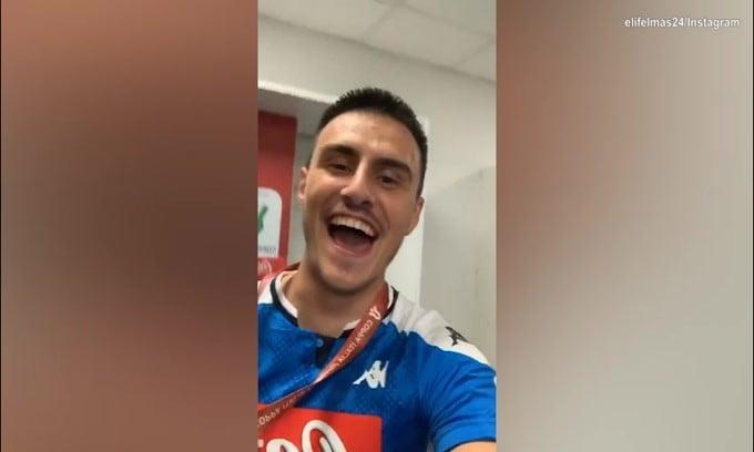 Napoli, Elmas e Mertens festeggiano la Coppa Italia