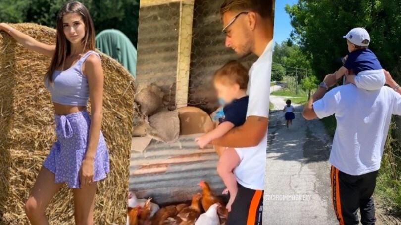 Lazio, relax Immobile tra famiglia e… galline. E Jessica incanta in versione contadina