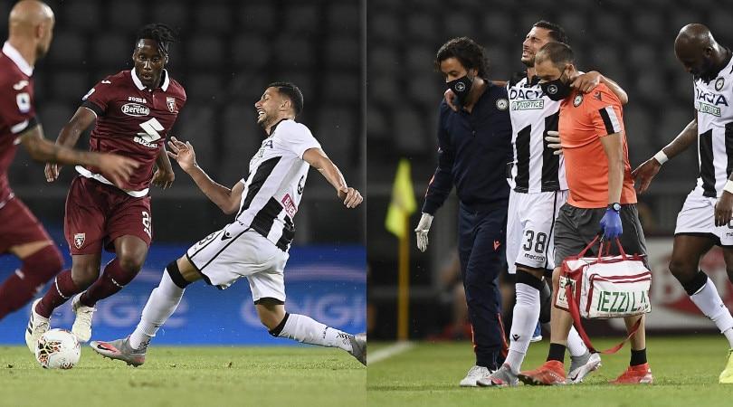 Torino-Udinese, Mandragora in lacrime dopo l'infortunio