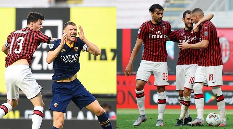Dzeko sfiora il gol, Rebic e Calhanoglu puniscono la Roma