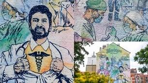 Coronavirus, a Bruxelles spunta un murale dedicato ai medici