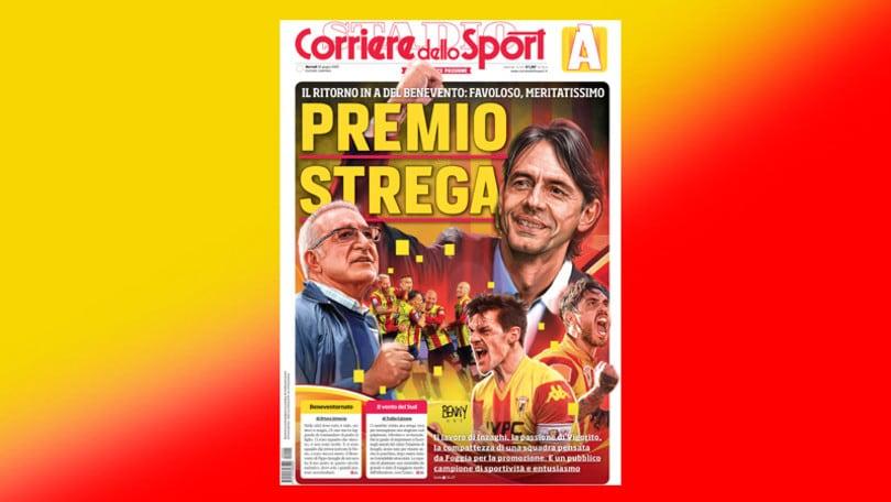 La prima pagina del Corriere dello Sport per celebrare il Benevento che torna in serie A