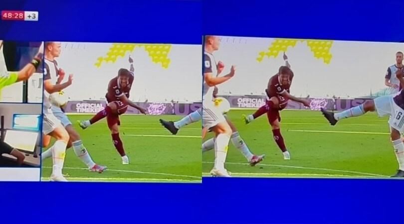 Juve-Torino, De Ligt tocca di mano: ecco il fallo del rigore di Belotti