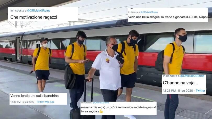 """Roma, ecco il video che sta facendo infuriare i tifosi: """"Svogliati anche alla stazione"""""""