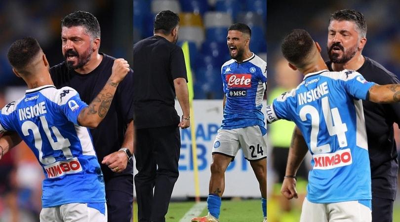 L'esultanza di Insigne e Gattuso, che abbraccio dopo il gol!